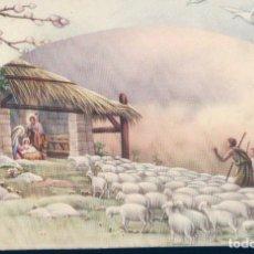 Postales: POSTAL DIBUJO PORTAL DE BELEN - SAN JOSE - MARIA Y NIÑO JESUS - PASTORES Y OVEJAS - ESCRITA. Lote 127781307