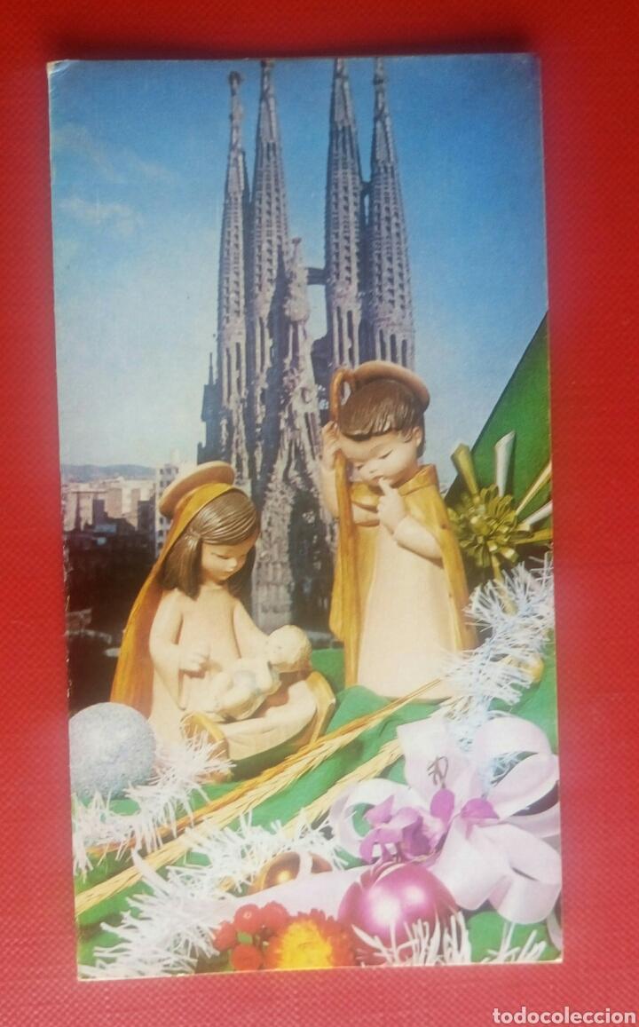 TARJETA DIPTICO FELICITACION NAVIDAD SAGRADA FAMILIA BARCELONA AÑOS 70 CHIS (Postales - Postales Temáticas - Navidad)