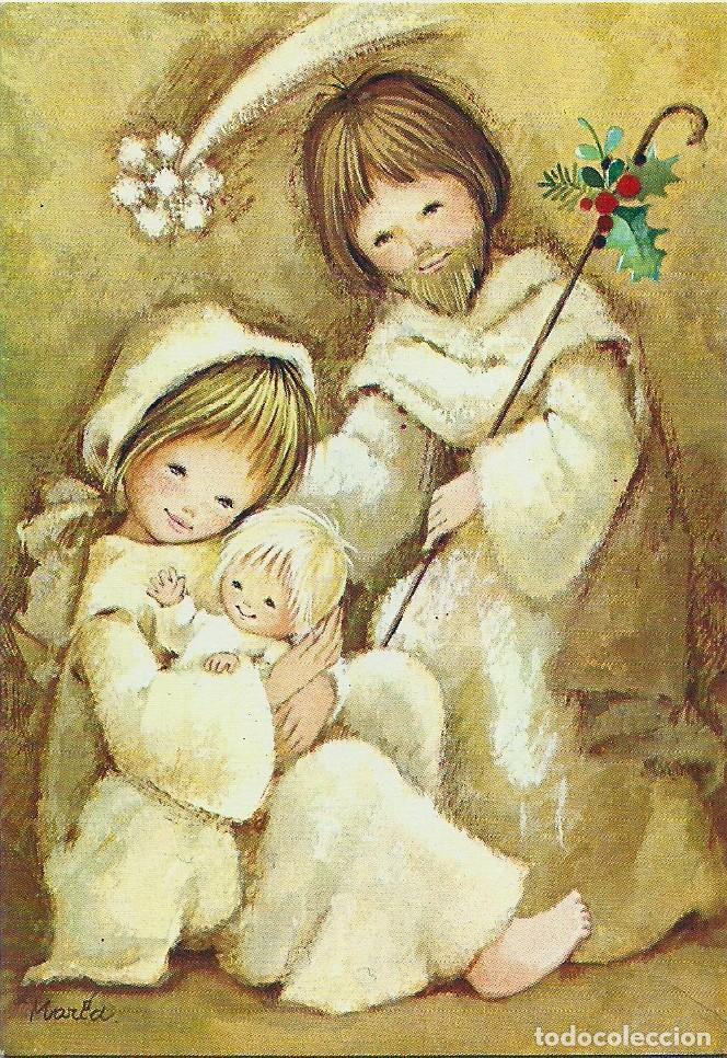 0775X - EDICIONES ORTIZ MADRID X158 - DIPTICA 12,3X8,5 CM- ILUSTRA MARIA (Postales - Postales Temáticas - Navidad)