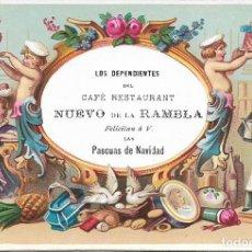 Postales: BARCELONA ANTIGUA TARJETA CAFE RESTAURANT NUEVO DE LA RAMBLA, LOS DEPENDIENTES FELICITAN LAS PASCUAS. Lote 133007082