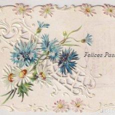 Postales: TARJETA DE FELICITACIÓN CON RELIEVES Y COLOR - FELICES PASCUAS . Lote 134743942