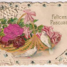 Postales: ANTIGUA TARJETA DE FELICES PASCUAS CON RELIEVES. . Lote 134744410