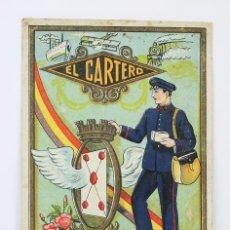 Postales: TARJETA LITOGRAFIADA / FELICITACIÓN NAVIDEÑA DE OFICIOS - EL CARTERO - REPÚBLICA ESPAÑOLA, AÑOS 30. Lote 136445142