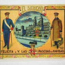 Postales: ANTIGUA TARJETA / HOJITA FELICITACIÓN NAVIDEÑA DE OFICIOS - EL SERENO FELICITA LAS PASCUAS. Lote 136461194