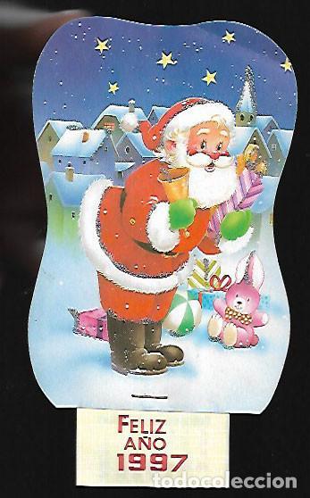 FELICITACION NAVIDAD - CALENDARIO * PAPÁ NOEL * ADORNADO CON PURPURINA 1997 (Postales - Postales Temáticas - Navidad)