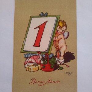 Bonne Année Buen año postal para felicitar la navidad