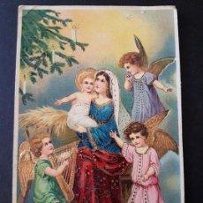 Postales: POSTAL NAVIDAD NIÑO JESUS Y VIRGEN MARIA CON ANGELES. Lote 140900178