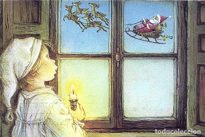 2091P - LISI MARTIN - NIÑO POR LA VENTANA VE PAPÁ A NOEL PRECIOSA POSTAL IMPRESA EN RUSIA -15X10 CM (Postales - Postales Temáticas - Navidad)