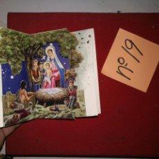 Postales: POSTAL DIPTICO DESPLEGABLE TROQUELADA CON PURPURINA AÑOS 50/60 BELEN NACIMIENTO 3 DIMENSIONES . Lote 141597302