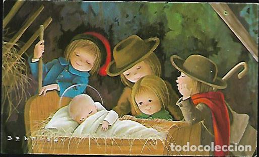 TARJETA NAVIDAD BENAGES * PASTORES ADORANDO AL NIÑO* 1975 (Postales - Postales Temáticas - Navidad)