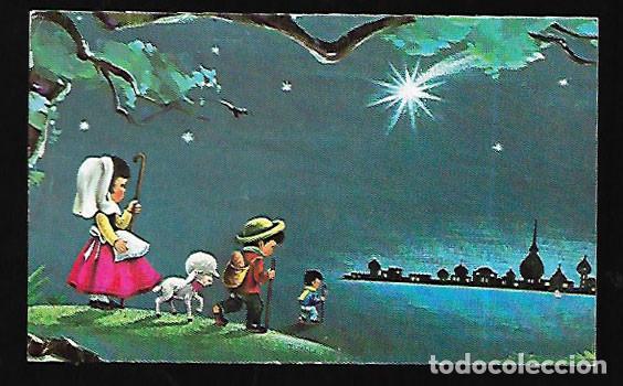 TARJETA NAVIDAD * PASTORES CAMINO DE BELÉN * 1975 (Postales - Postales Temáticas - Navidad)