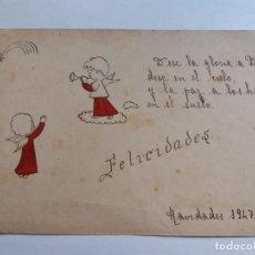Postales: ANTIGUA TARJETA POSTAL 1947 - NAVIDADES - RELIGIOSA - ÁNGELES. Lote 143388130