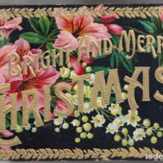 Postales: A BRIGHT AND MERRY CHRISTMAS. POSTAL INGLESA, RELIEVE, CIRCULADA. C. 1920. Lote 146193578