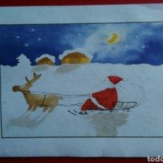 Postales: TARJETA FELICITACIÓN NAVIDAD PAPA NOEL EN TRINEO. Lote 150366784