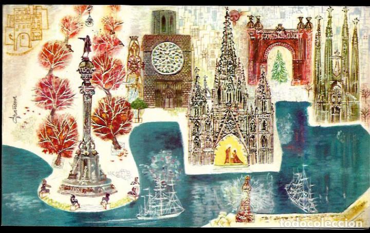 FELICITACIÓN NAVIDAD GRAÑENA * MONUMENTOS DE BARCELONA * ORIGINAL AÑO 1961 ( 19 X 11,50 ) ELITE (Postales - Postales Temáticas - Navidad)