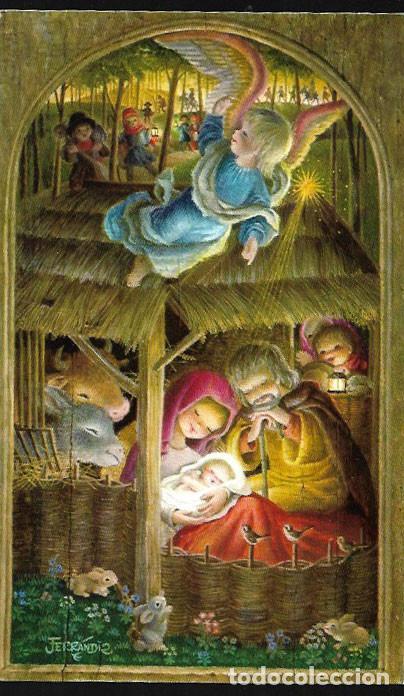 FELICITACIÓN NAVIDAD FERRÁNDIZ * VENID, PASTORES, VENID * ORIGINAL AÑO 1972 ( 17 X 10 ) (Postales - Postales Temáticas - Navidad)