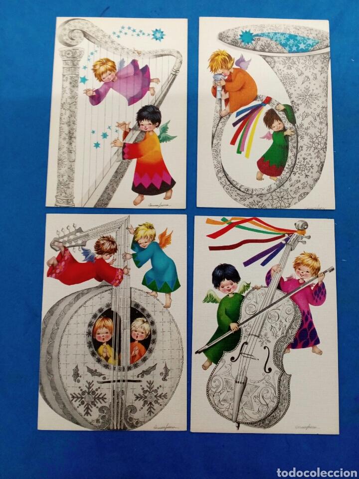 LOTE DE 4 POSTALES ,CARMEN GUERRA , EDICIONES SABASELL , 1968 (Postales - Postales Temáticas - Navidad)