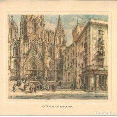 Postales: FELICITACION NAVIDAD BANCO DE BILBAO, 1957 - CATEDRAL DE BARCELONA DE LÓPEZ RAMÓN. Lote 155234922