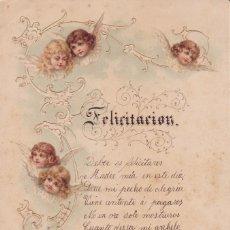 Postales: FELICITACIÓN BARCELONA 1898 14X20CTMS. ANGELES. Lote 155390422