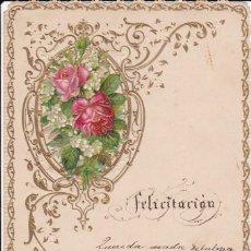 Postales: IMPRESIONATE FELICITACIÓN GRACIA BARCELONA 1895 14X20CTMS. . Lote 155390610