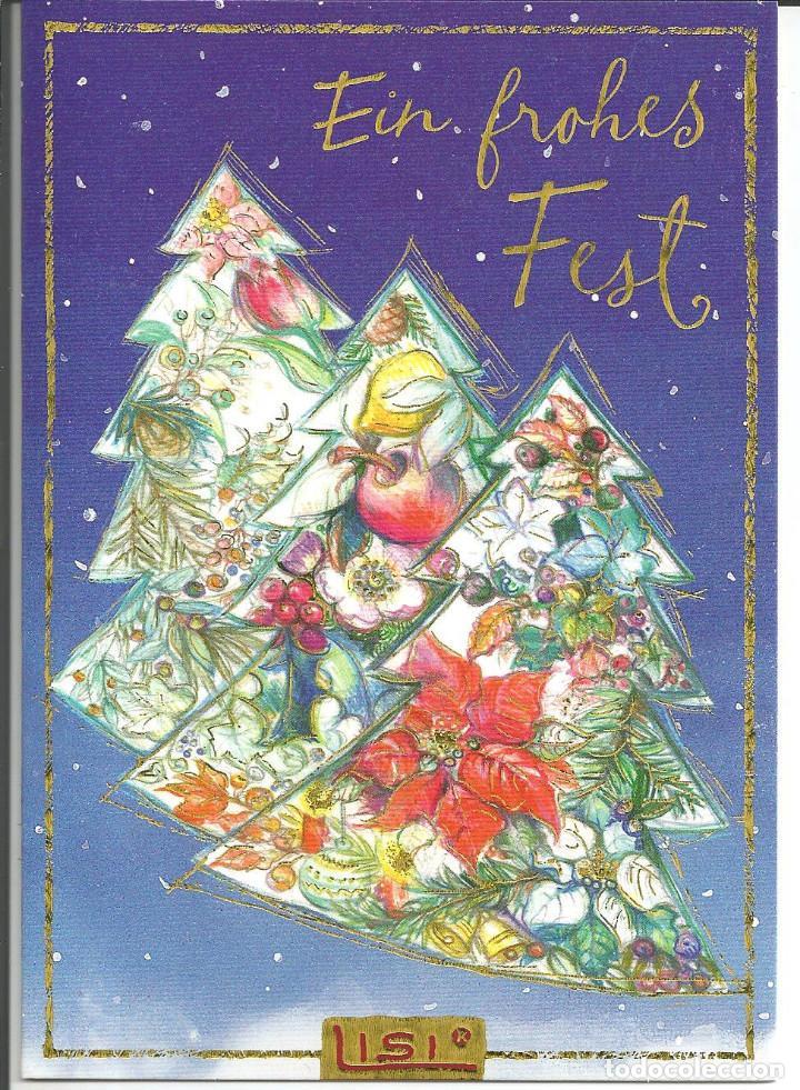 POSTAL NAVIDAD *LISI MARTIN* - AVETOS CON ADORNOS - ED. PICTURA GRAPHICA, DIPTICA 16,5X11,5 CM (Postales - Postales Temáticas - Navidad)