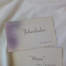 Postales: CURIOSA FELICITACION ,DIBUJO RELIEVE.TARGETA POSTAL DOBLE.1951-52.MIÑON.VALLADOLID.. Lote 156625226