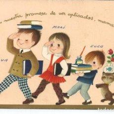 Postales: POSTAL *FERRANDIZ* - NIÑOS DESFILANDO CON LIBROS - DIPTICA (14X10 CM). Lote 157843434