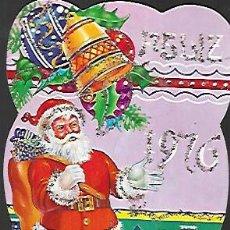 Postales: FELICITACION CALENDARIO * PAPÁ NOEL * ADORNADO CON PURPURINA . 1976. Lote 158824470