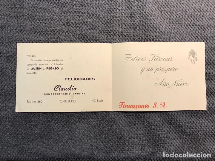 Postales: TOMELLOSO (Ciudad Real) Felicitación Navideña. Concesionario Claudio. Austin o Pegaso (h.1960?) - Foto 2 - 160192144