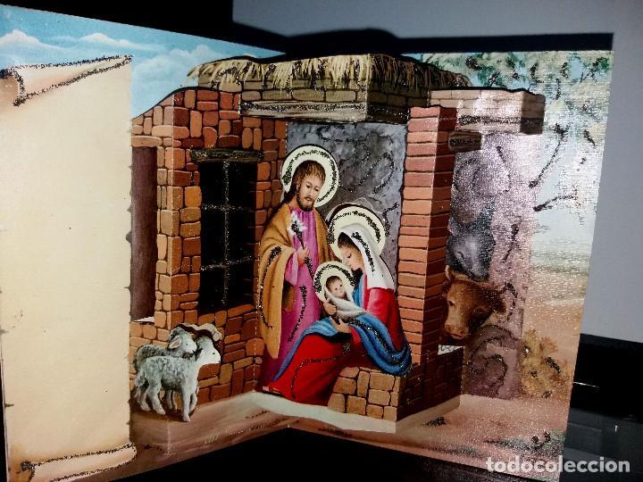FELICITACION TROQUELADA NAVIDAD JOAN* NACIMIENTO*ADORNADA CON PURPURINA 1972 (Postales - Postales Temáticas - Navidad)