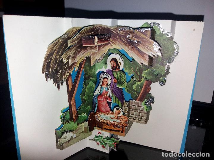 FELICITACION TROQUELADA NAVIDAD * NACIMIENTO*ADORNADA CON PURPURINA (Postales - Postales Temáticas - Navidad)