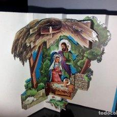 Postales: FELICITACION TROQUELADA NAVIDAD * NACIMIENTO*ADORNADA CON PURPURINA . Lote 161526918