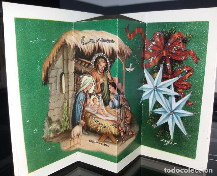 FELICITACION TROQUELADA NAVIDAD ZSOLT * NACIMIENTO * ADORNADA CON PURPURINA -1965 (Postales - Postales Temáticas - Navidad)