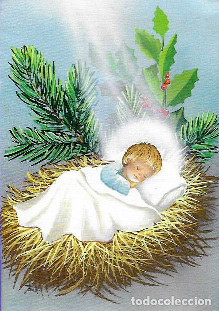 FELICITACIÓN TROQUELADA NAVIDAD JOAN * NIÑO JESÚS * -1987 (Postales - Postales Temáticas - Navidad)