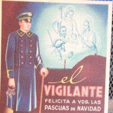 Postales: FELICITACIÓN DE NAVIDAD EN CARTÓN DE *EL VIGILANTE*, TEXTO EN EL DORSO. 13 X 10 CM. INF. 2 FOTOS. Lote 261977580