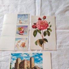 Postales: 2 POSTALES–FELICITACIONES DE NAVIDAD Y 3 MINI POSTALES. SIN CIRCULAR.. Lote 165379158