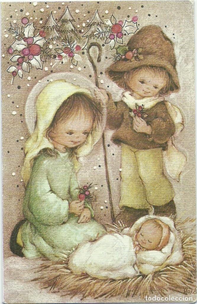 0979N - EDICIONES ORTIZ X104 - DIPTICA 13X8,5 CM - ILUSTRA MARIA (Postales - Postales Temáticas - Navidad)