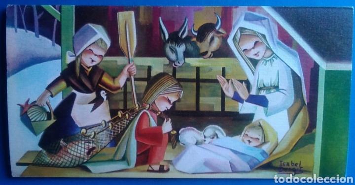TARJETA DIPTICO FELICITACIÓN NAVIDAD ILUSTRA ISABEL BURGOS ESCRITA / 10 X 20 CM (Postales - Postales Temáticas - Navidad)