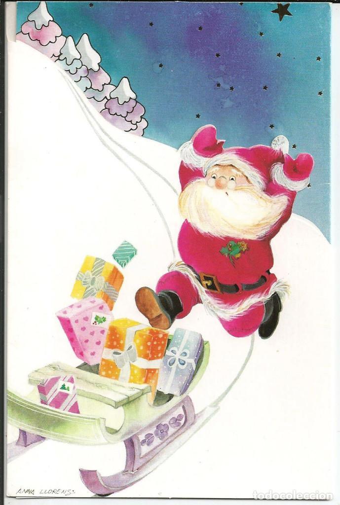 POSTAL NAVIDAD TROQUELADA *ANNA LLORENS* - PAPA NOEL - ED. SUBI 81652-2 - TRIPTICA (Postales - Postales Temáticas - Navidad)