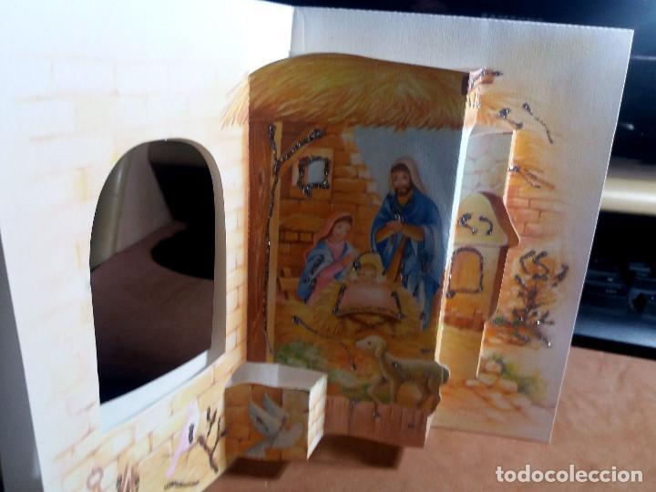 FELICITACION TROQUELADA NAVIDAD * NACIMIENTO * ADORNADA CON PURPURINA (Postales - Postales Temáticas - Navidad)