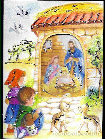 Postales: FELICITACION TROQUELADA NAVIDAD * NACIMIENTO * ADORNADA CON PURPURINA - Foto 2 - 168380652