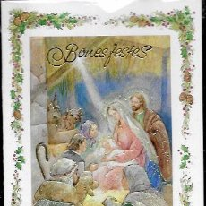 Postales: FELICITACION NAVIDAD * NACIMIENTO * EN RELIEVE - ADORNADA CON PURPURINA- GOLDEN. Lote 168426508