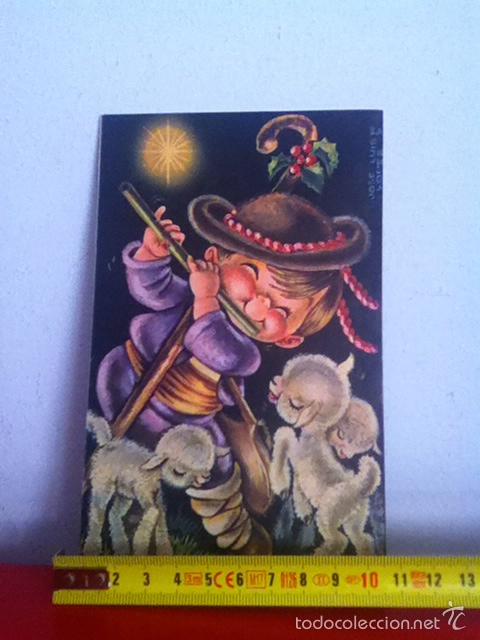 J.L LÓPEZ ( AÑOS 60) DIPTICO. 17X10 CM TARJETA POSTAL NAVIDAD (Postales - Postales Temáticas - Navidad)