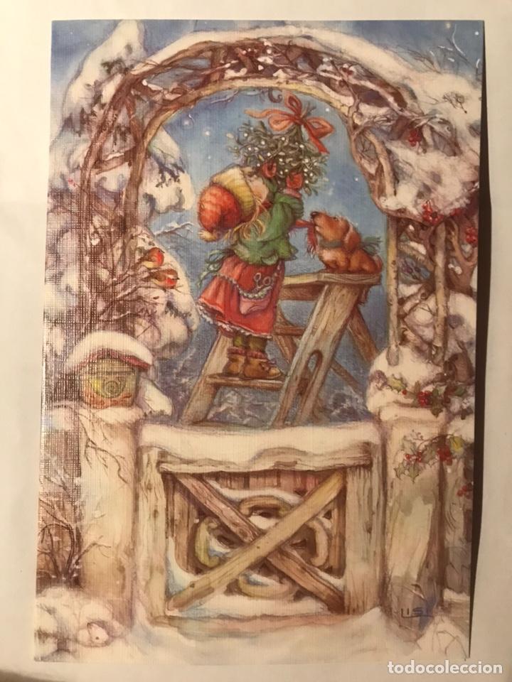 POSTAL DÍPTICA NO ESCRITA LISI MARTIN NAVIDAD. PICTURA GRAPHICA SWEDEN NÚM. 092.8046 CON BIOGRAFÍA (Postales - Postales Temáticas - Navidad)