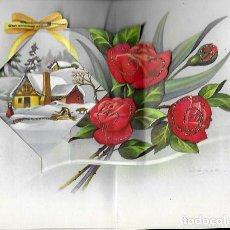 Postales: FELICITACION NAVIDAD TROQUELADA LOPEZ * PUEBLO NEVADO *1965 , PURPURINA. Lote 171257748