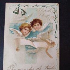 Postales: POSTAL FELICITACION NAVIDAD 1909 EN RELIEVE ANGELES. Lote 171424965