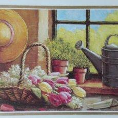 Postales: TARJETA DE FELICITACIÓN PINTADA CON LA BOCA, DE ARTIS MUTIS. Lote 171747564