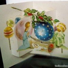 Postales: FELICITACION TROQUELADA NAVIDAD VIVES *LA VIRGEN CON EL NIÑO *ADORNADA CON PURPURINA -1962. Lote 172422218