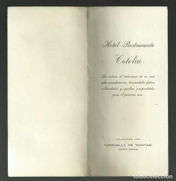 Postales: ANTIGUA POSTAL DE NAVIDAD HOTEL RESTAURANTE COTOLIU. TORROELLA DE MONTGRI. AÑOS 60? - Foto 2 - 174539973