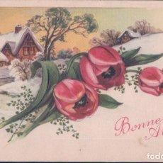 Postales: POSTAL BONNE ANNEE - PAISAJE NEVADO Y FLORES - EDITIONS CHROMOPHOTE - ESCRITA. Lote 175763153